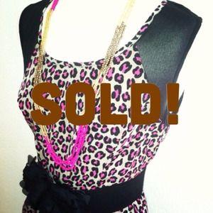 *NWT* Sz L leopard print mesh dress - pink / black