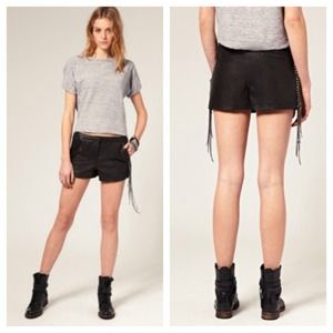 ***HOST PICK*** leather shorts with chain fringe