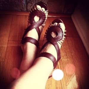 Material Girl Shoes - Brown Gold Strappy Peep Toes + Wooden Heels