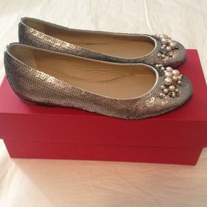 Valentino Sequin Pearl Ballet Flats Size 36.5 6.5