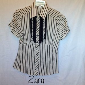 ZARA WOMAN Blue/White Striped Ruffle Blouse sz L