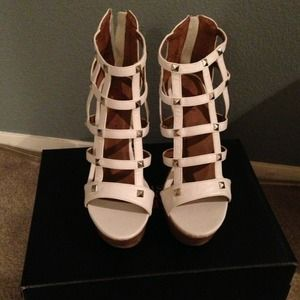 Shoes - White Studded Platform Wedges