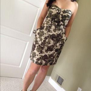 Strapless Silk Camo Dress by J Crew!