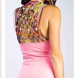 Meghan fabulous open beaded back party dress