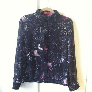 "Sheer, long sleeved ""constellation"" blouse"