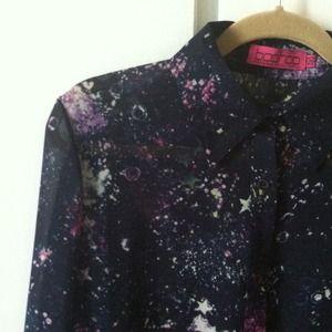 "Tops - Sheer, long sleeved ""constellation"" blouse"