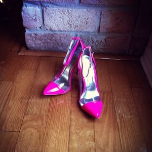 Shoes - ** SOLD ** Neon Pink Clear Vinyl Pointy Toe Pumps