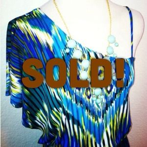 *NWT* Sz L Tribal one shoulder blue / yellow dress