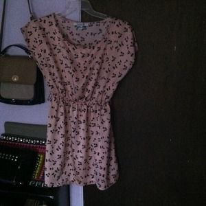 Pink dress with black Flores