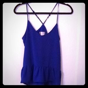 Cobalt blue top with drop waist ruffle