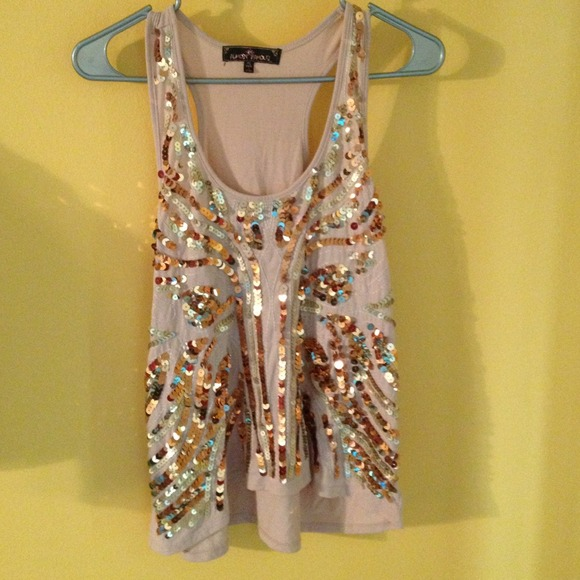 almost famous Tops - Peach sequin tank top