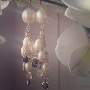"Jewelry - Pearl & ""Stone"" Statement Earrings"