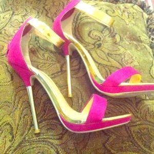 Fushia/gold flat heels