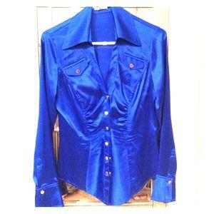 Cache Cobalt blue silk snap front blouse!