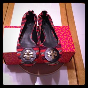 REDUCED PRICE NEW Tory Burch Striped Ballet Flats.