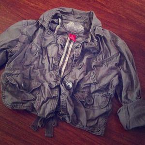 Gray crop cargo jacket