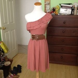 Pink One shoulder ruffled dress