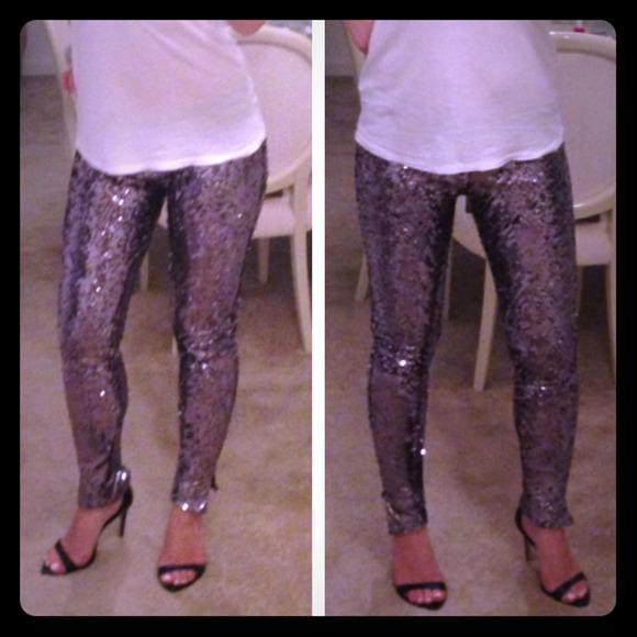 La ROK Sequin Leggings Pants Zipper Ankles Med