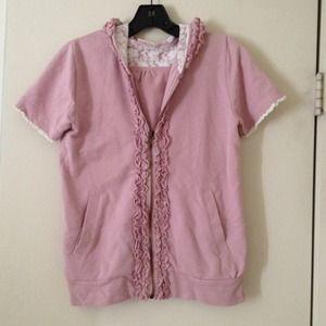 Pink Short Sleeve Hoodie Zip up