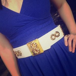 Escada Accessories - White & Gold Vintage Escada Belt