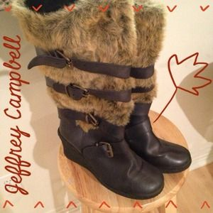 Jeffrey Campbell Furry Wedge Boots
