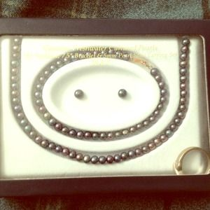 Genuine Freshwater Black Pearl Set!!!