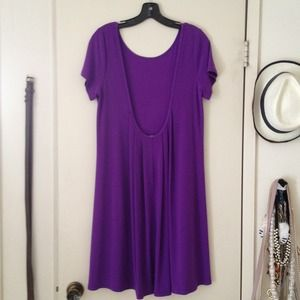 ABS Low scoop back purple dress