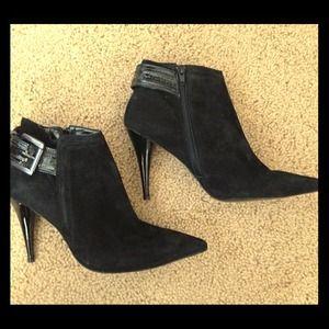 Black suede high heel booties size 8