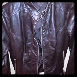Express Jackets & Blazers - Faux Leather biker jacket with belt