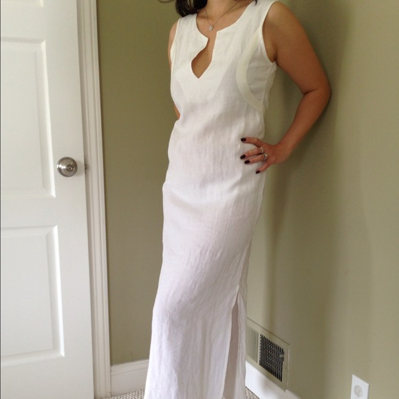 71% off Replay Dresses & Skirts - White Linen Maxi Dress from ...
