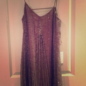 Parker Art Deco Grey Beaded Dress
