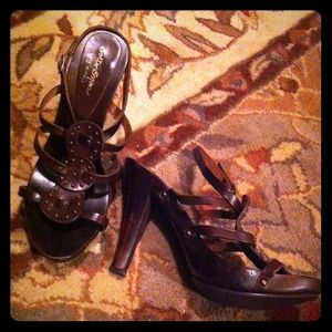Sotto Sopra Shoes - Brown Edgy Boho Studded Heels by Sotto Sopra.