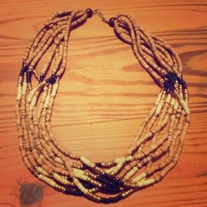 Vintage multi strand wood necklace
