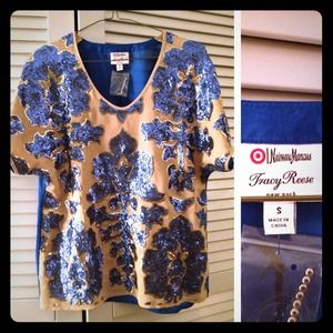 🎉HP🎉Tracy Reese blue sequined floral top
