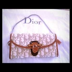 Dior white beige logo canvas wallet on a chain