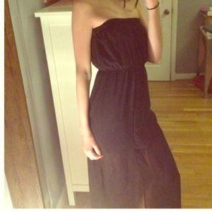 Black sheer maxi dress, with transparent bottom