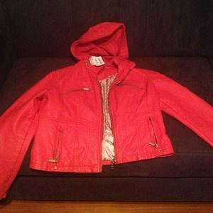 Faux leather red jacket.