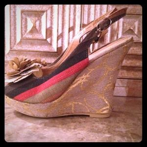 Clearance-multi-color wedge sling back heels
