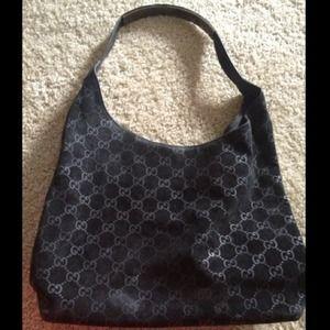 38d4423ea37e4 Gucci Bags - 💯 Authentic Black Suede Gucci Shoulder Bag