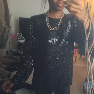Tops - Vintage black sequin top can fit a small also