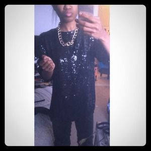Vintage black sequin top can fit a small also