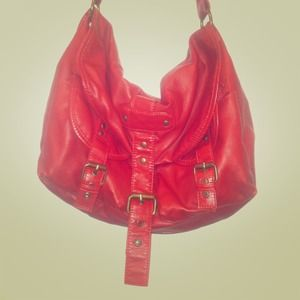 Red Faux Leather Messenger Bag