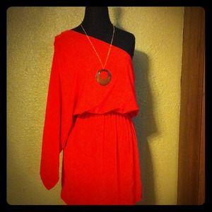 Dresses & Skirts - •S O L D•  One-Shoulder Short Dress (Coral)