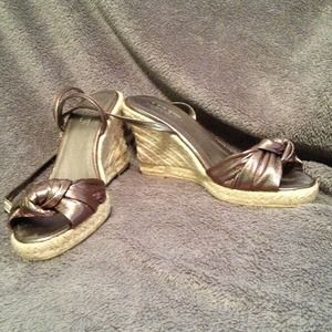 Jcrew bronze espadrille wedges with ankle strap