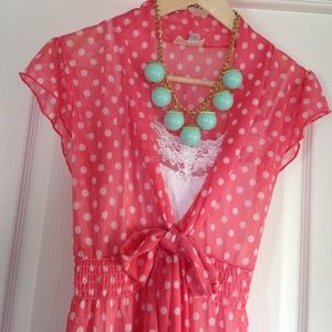 Tops - coral sheer polka dot blouse