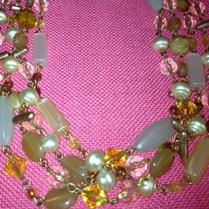 Jewelry - Gorgeous 3 Strand Necklace - Beige and Gold Tones