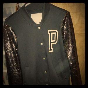 VS Pink Varsity Jacket.