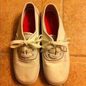 Kate Spade white tennis sneakers red stitching