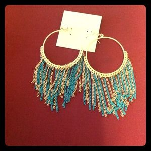 Gorgeous Cara hoop earrings. Turquoise and gold.