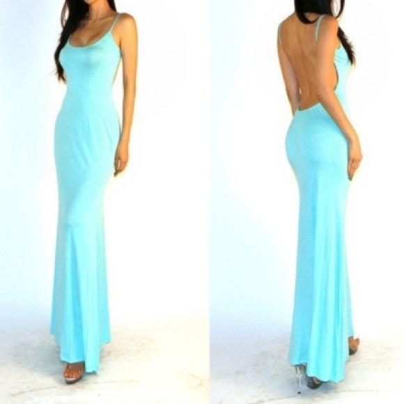 4f6ab08b9f5c Gorgeous Tiffany Blue backless long maxi dress